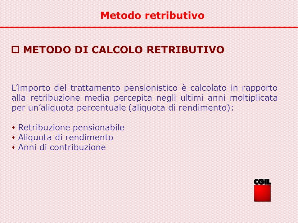  METODO DI CALCOLO RETRIBUTIVO