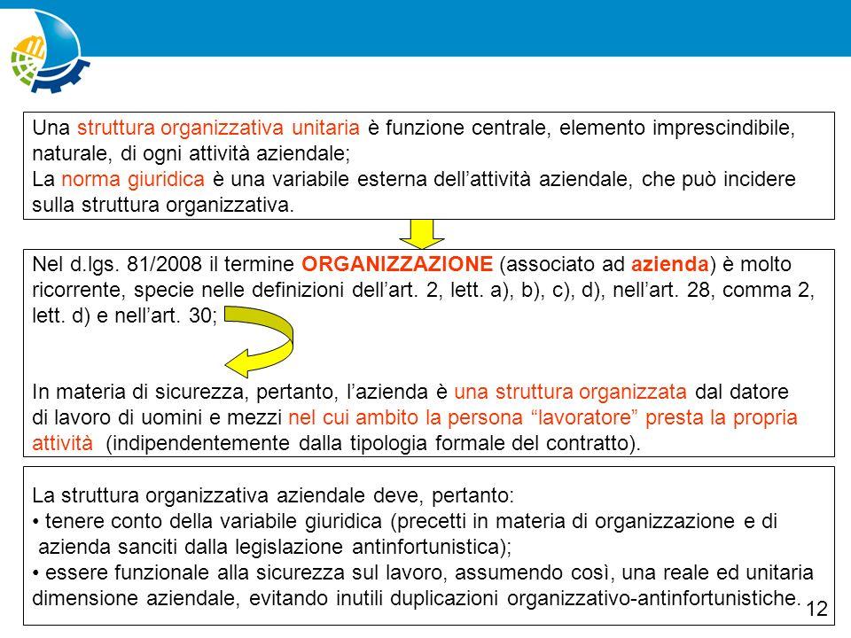 Una struttura organizzativa unitaria è funzione centrale, elemento imprescindibile,