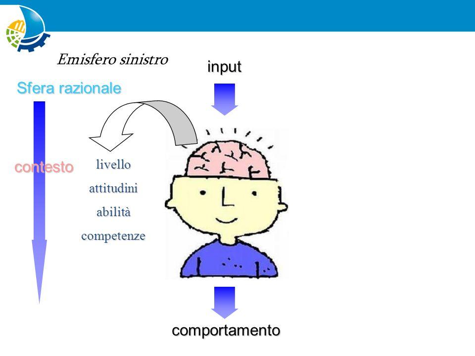 Emisfero sinistro input Sfera razionale contesto comportamento livello