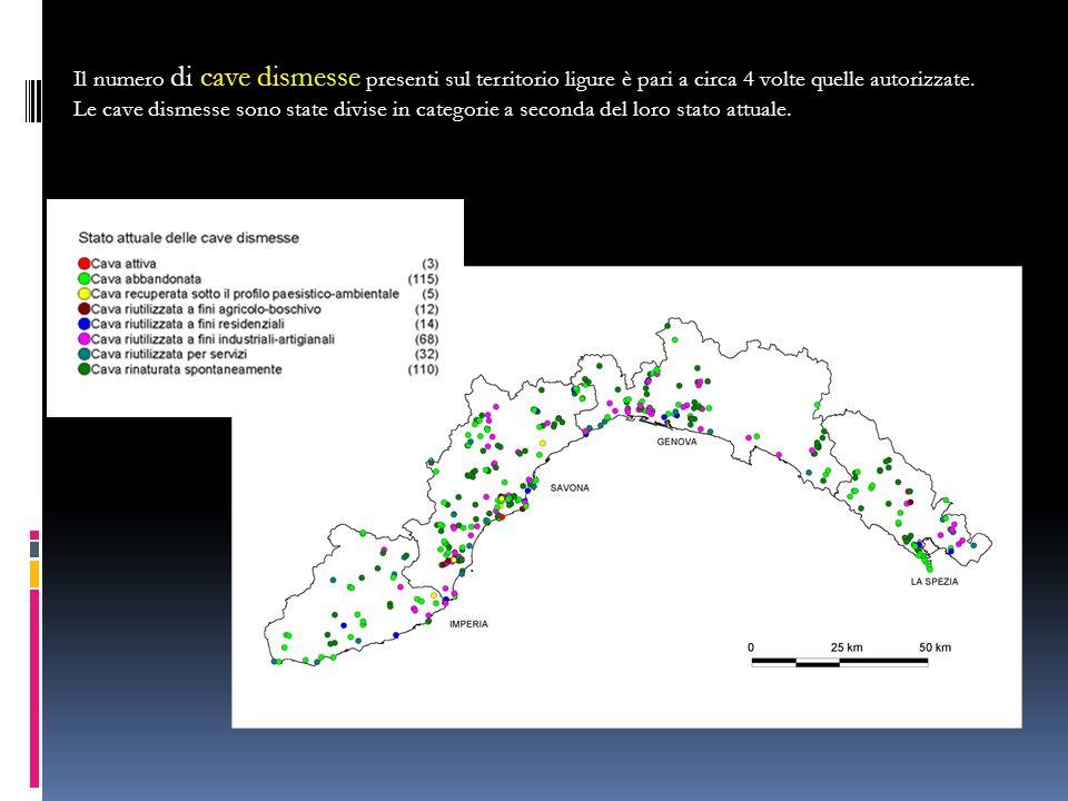 Il numero di cave dismesse presenti sul territorio ligure è pari a circa 4 volte quelle autorizzate.
