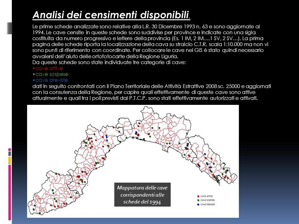 Mappatura delle cave corrispondenti alle schede del 1994