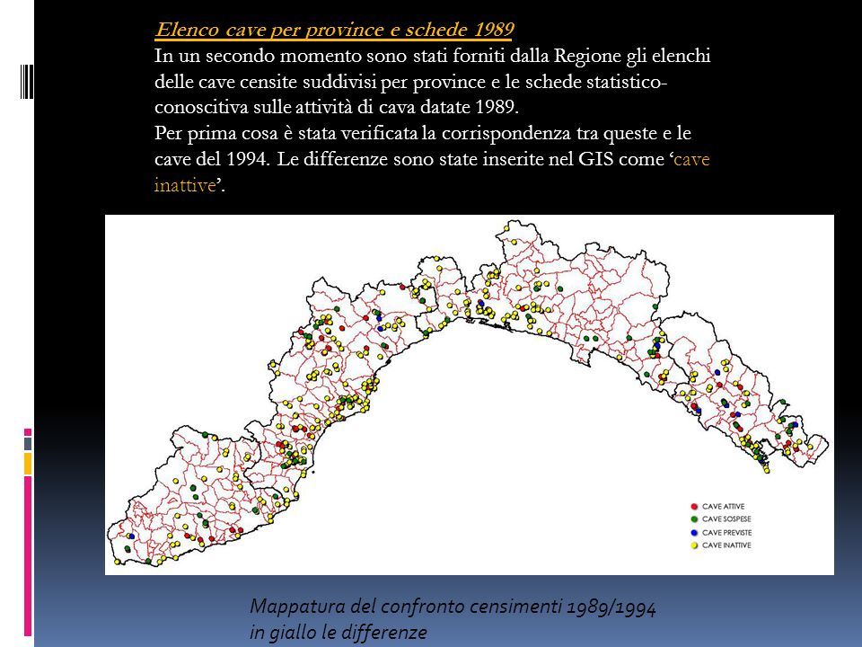 Elenco cave per province e schede 1989
