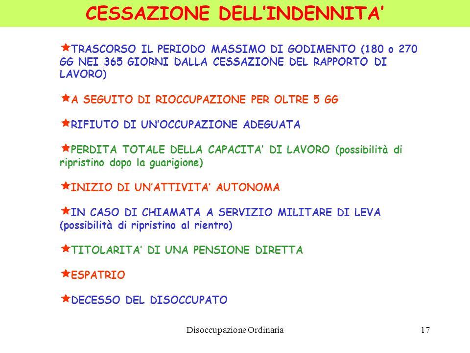 CESSAZIONE DELL'INDENNITA'