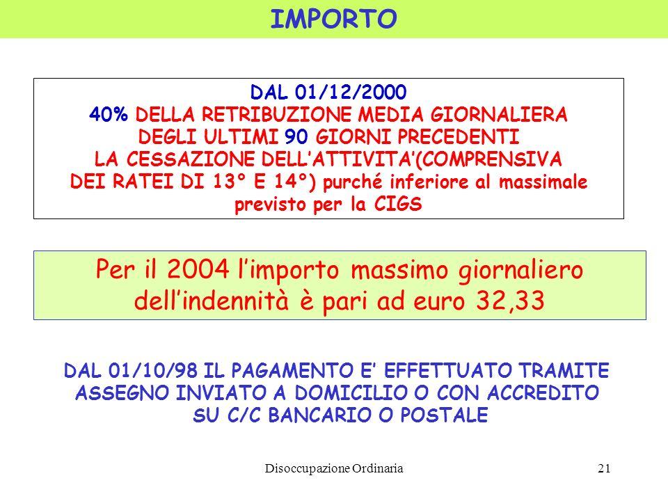 IMPORTO DAL 01/12/2000. 40% DELLA RETRIBUZIONE MEDIA GIORNALIERA. DEGLI ULTIMI 90 GIORNI PRECEDENTI.