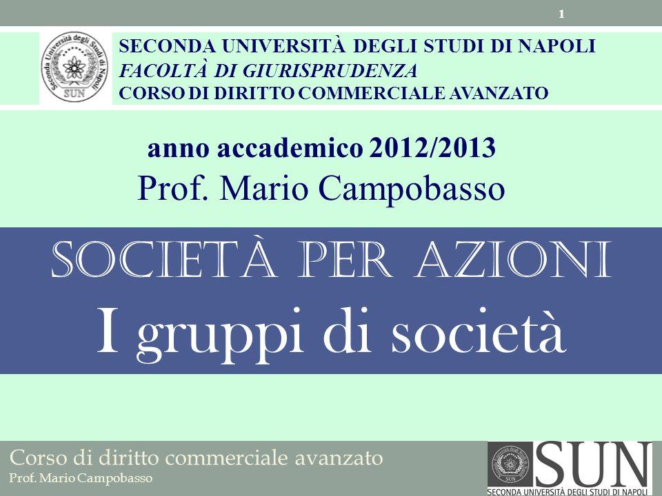 I gruppi di società Società per azioni Prof. Mario Campobasso