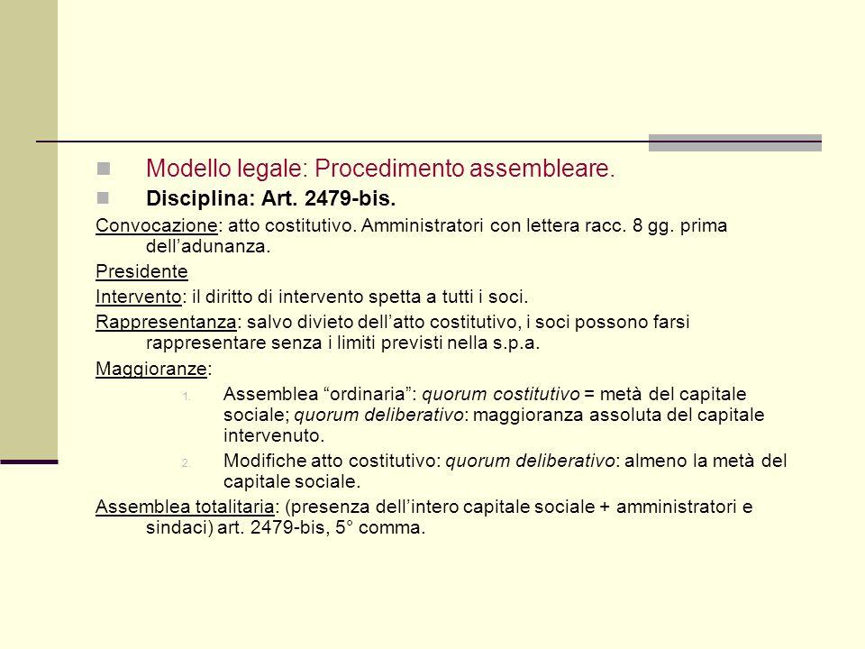 … Modello legale: Procedimento assembleare. Disciplina: Art. 2479-bis.