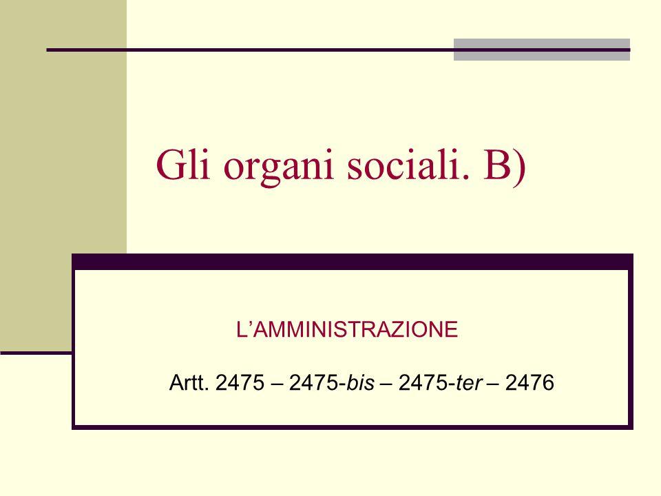 L'AMMINISTRAZIONE Artt. 2475 – 2475-bis – 2475-ter – 2476