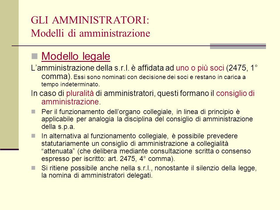 GLI AMMINISTRATORI: Modelli di amministrazione