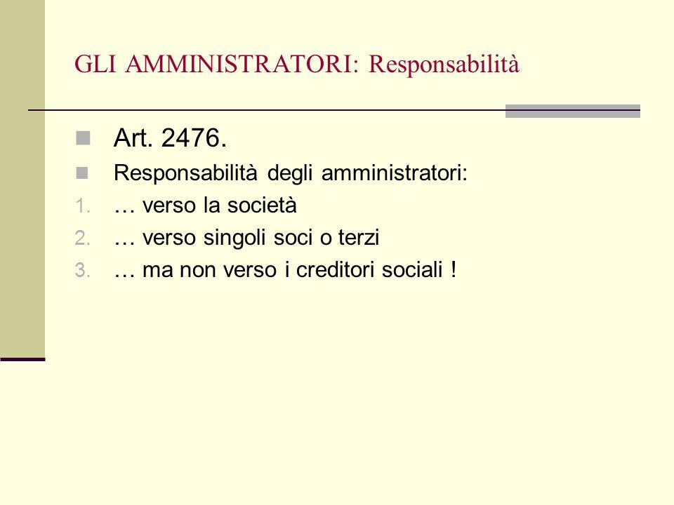 GLI AMMINISTRATORI: Responsabilità
