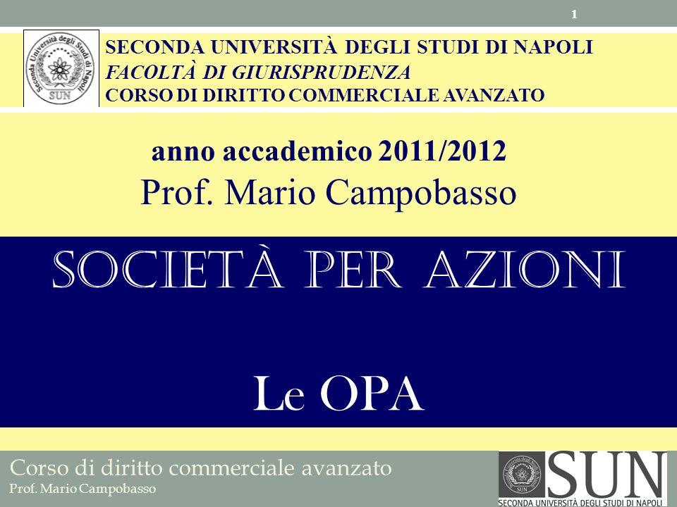 Società per azioni Le OPA Prof. Mario Campobasso