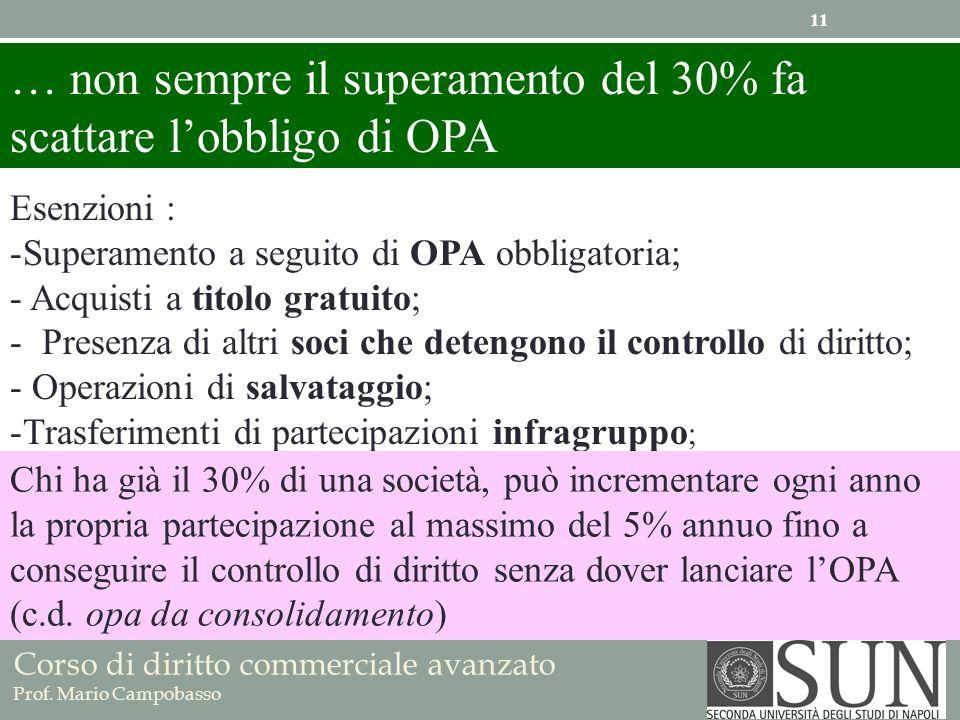 … non sempre il superamento del 30% fa scattare l'obbligo di OPA