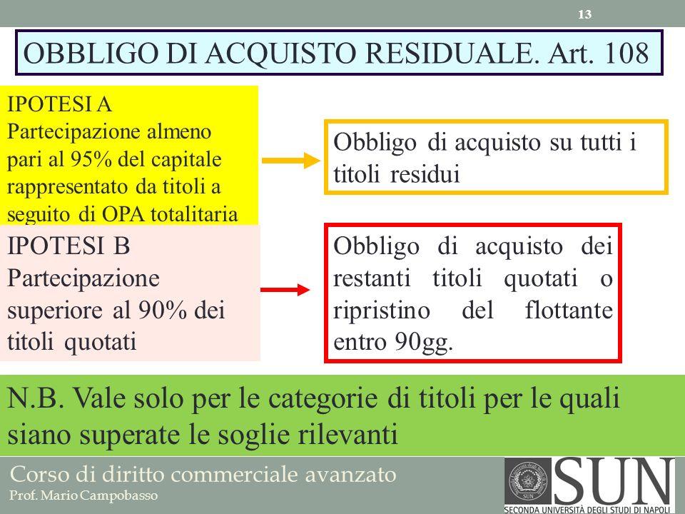 OBBLIGO DI ACQUISTO RESIDUALE. Art. 108
