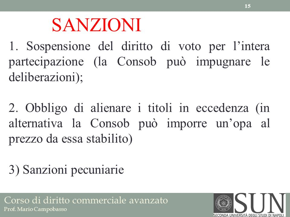 SANZIONI 1. Sospensione del diritto di voto per l'intera partecipazione (la Consob può impugnare le deliberazioni);
