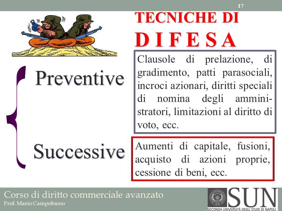 D I F E S A Preventive Successive TECNICHE DI