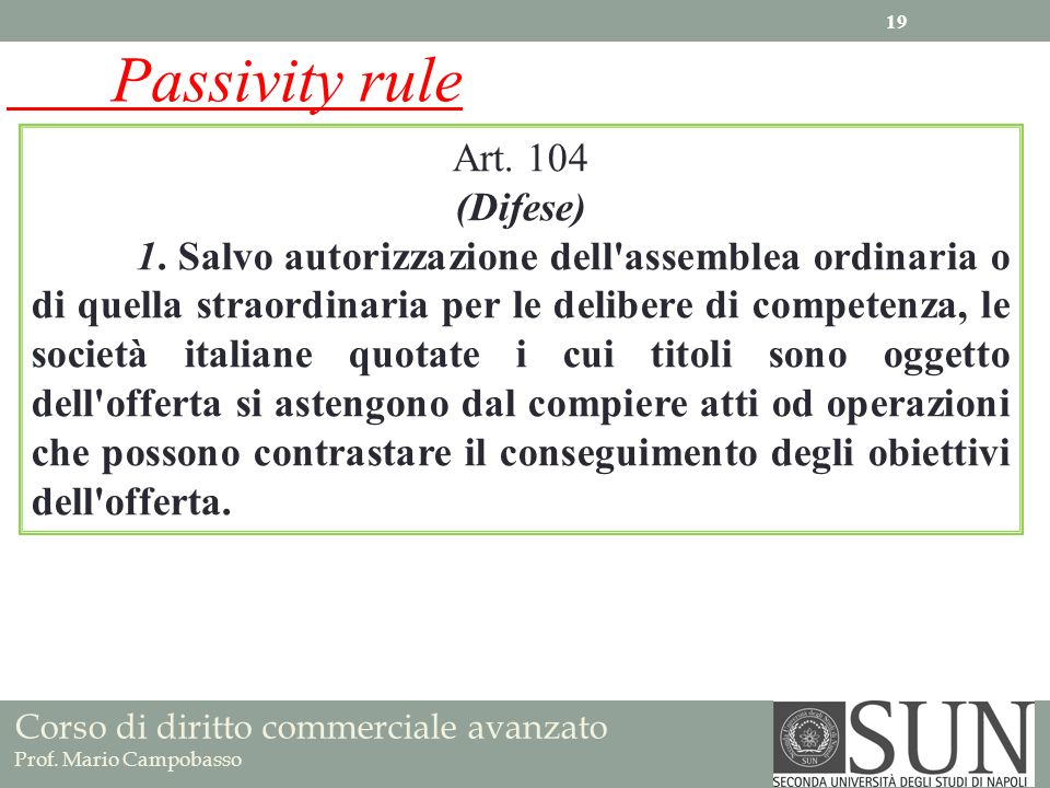 Passivity rule Art. 104 (Difese)