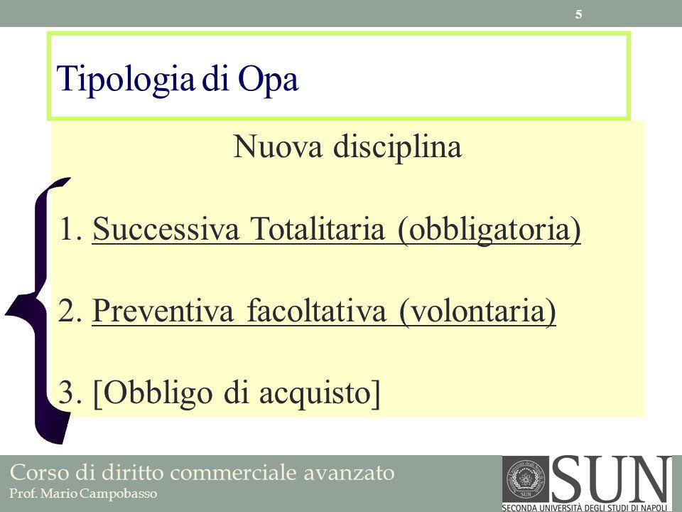 Tipologia di Opa Nuova disciplina