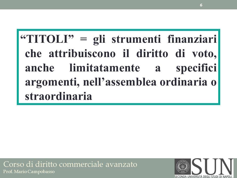 TITOLI = gli strumenti finanziari che attribuiscono il diritto di voto, anche limitatamente a specifici argomenti, nell'assemblea ordinaria o straordinaria