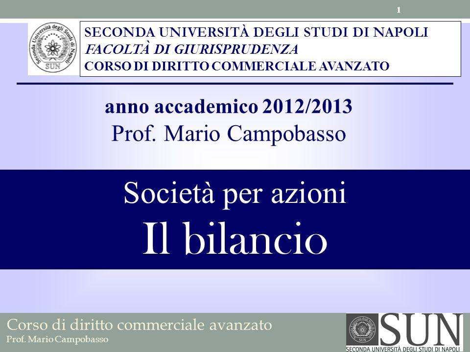 Il bilancio Società per azioni Prof. Mario Campobasso