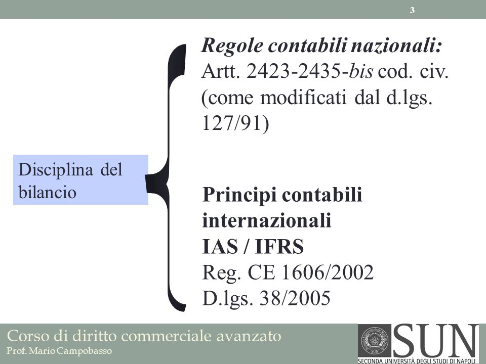Regole contabili nazionali: Artt. 2423-2435-bis cod. civ.