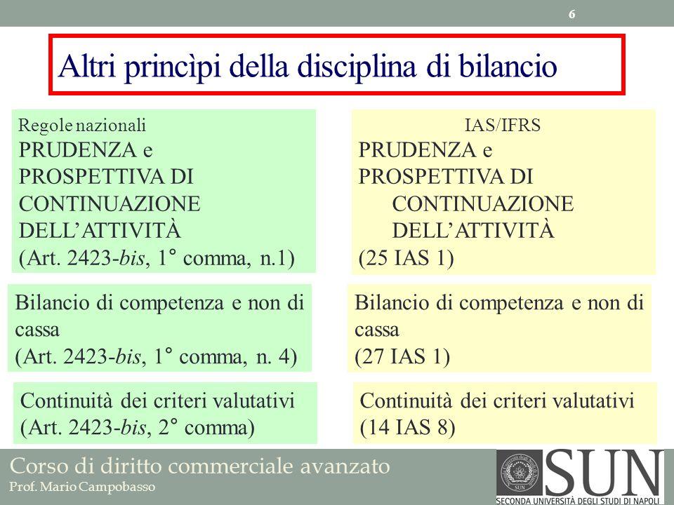 Altri princìpi della disciplina di bilancio