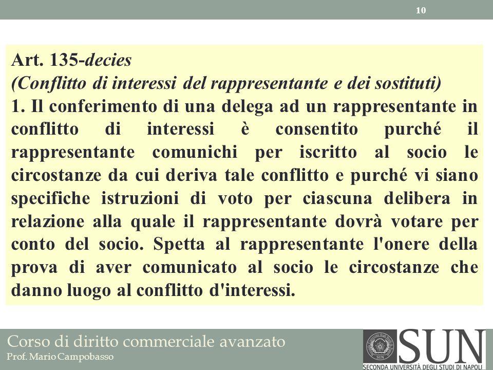 Art. 135-decies (Conflitto di interessi del rappresentante e dei sostituti)