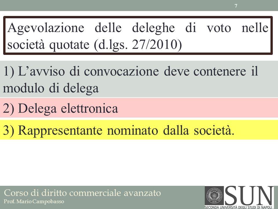 Agevolazione delle deleghe di voto nelle società quotate (d. lgs