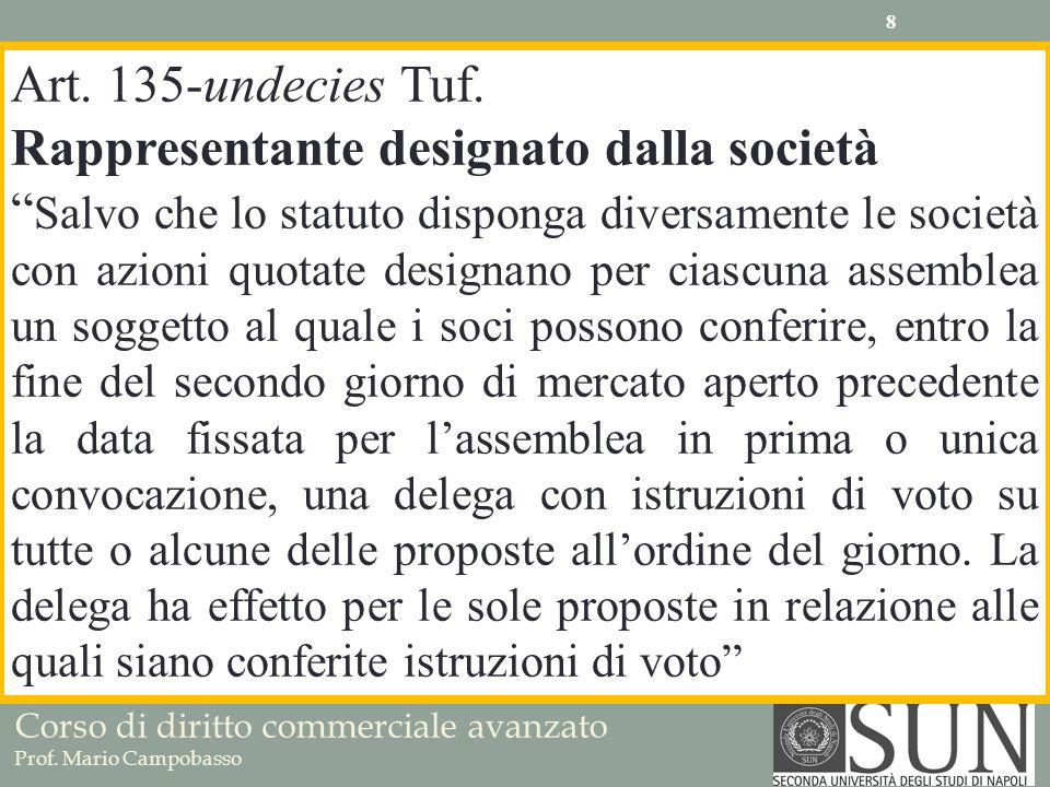 Art. 135-undecies Tuf. Rappresentante designato dalla società.