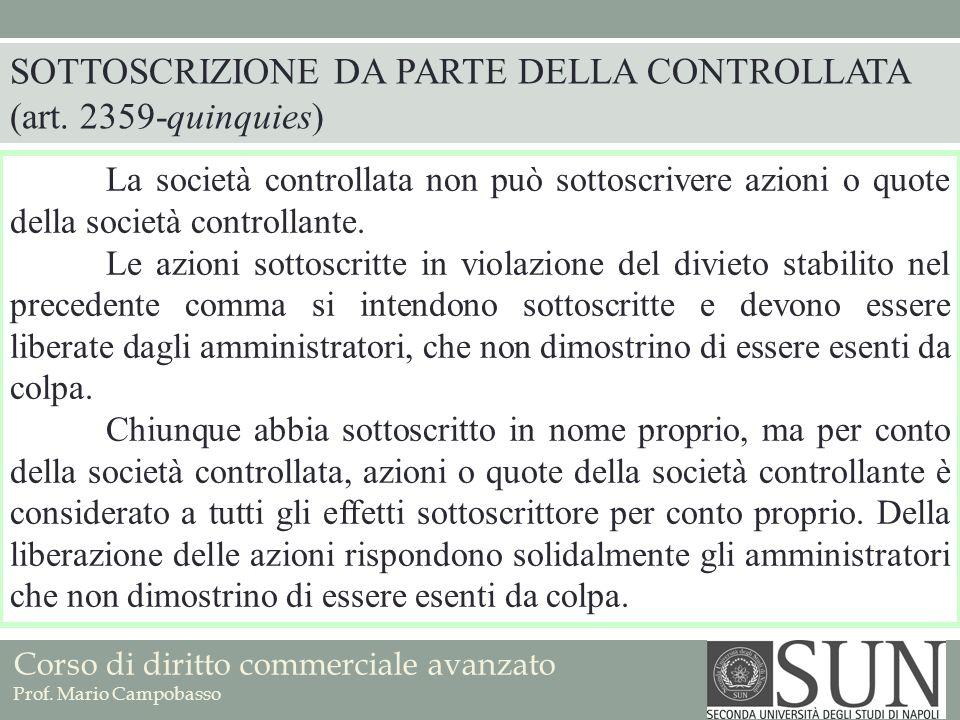 SOTTOSCRIZIONE DA PARTE DELLA CONTROLLATA (art. 2359-quinquies)