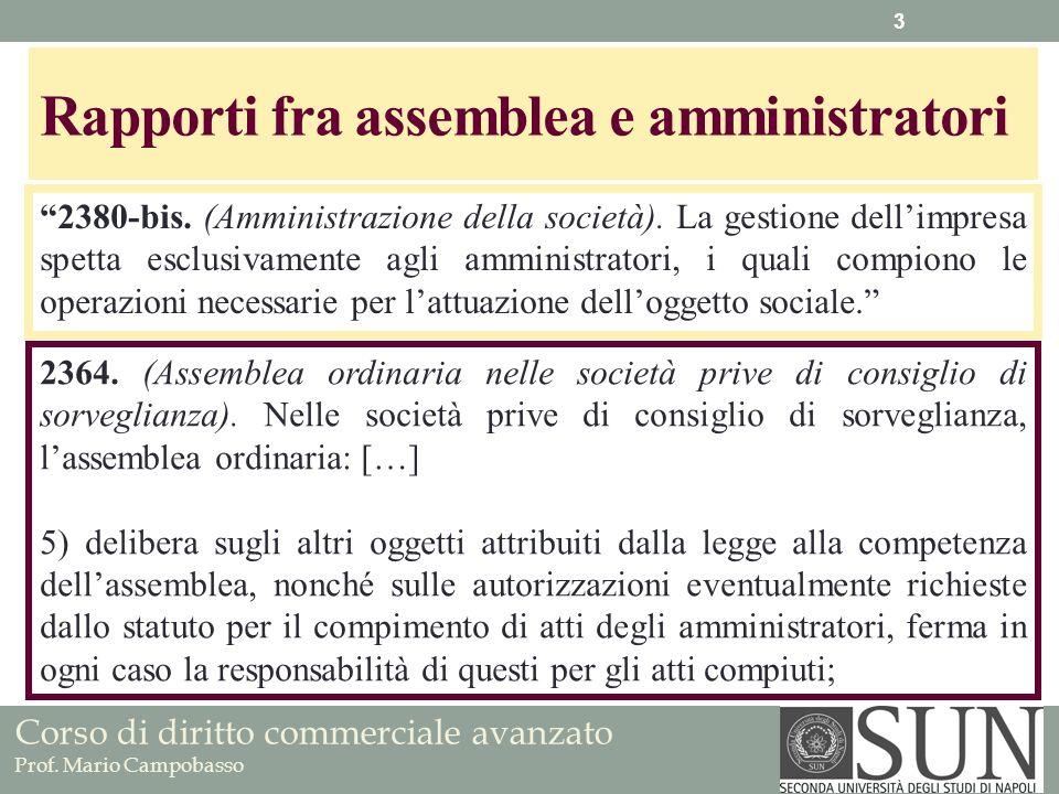 Rapporti fra assemblea e amministratori