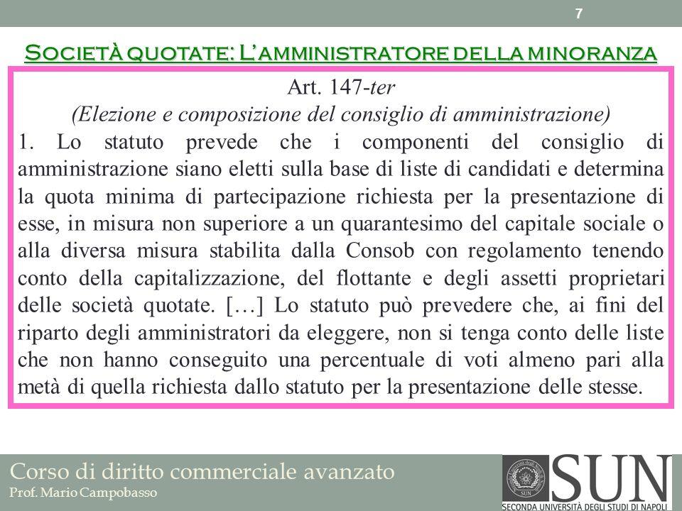 (Elezione e composizione del consiglio di amministrazione)