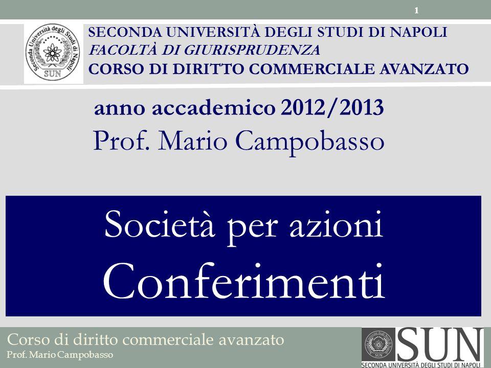 Conferimenti Società per azioni Prof. Mario Campobasso