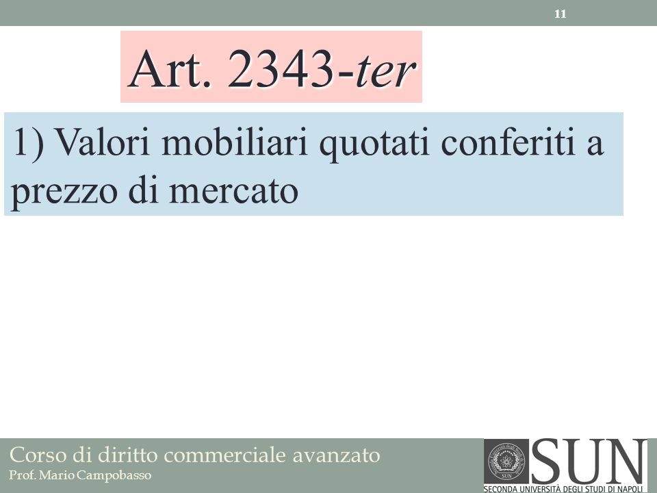 Art. 2343-ter 1) Valori mobiliari quotati conferiti a prezzo di mercato