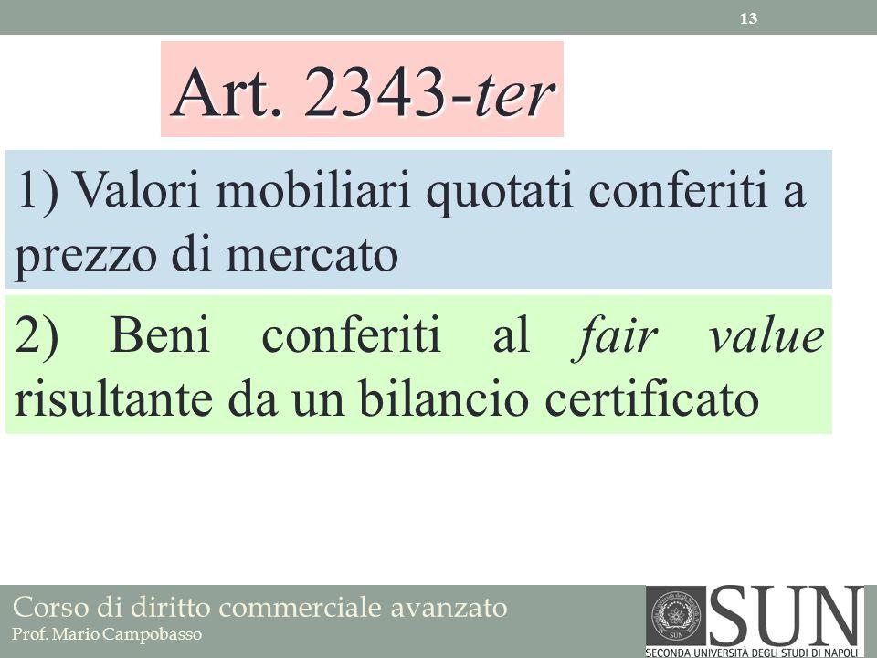 Art. 2343-ter 1) Valori mobiliari quotati conferiti a prezzo di mercato.