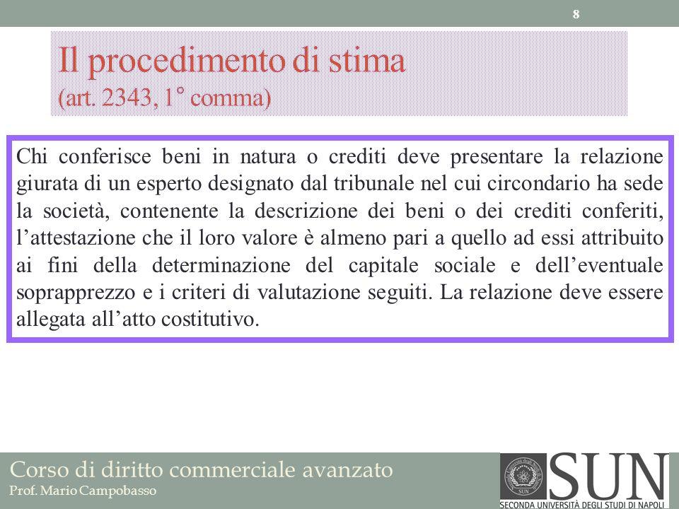 Il procedimento di stima (art. 2343, 1° comma)