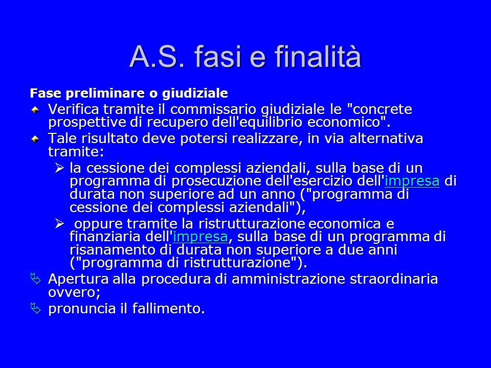 A.S. fasi e finalità Fase preliminare o giudiziale.