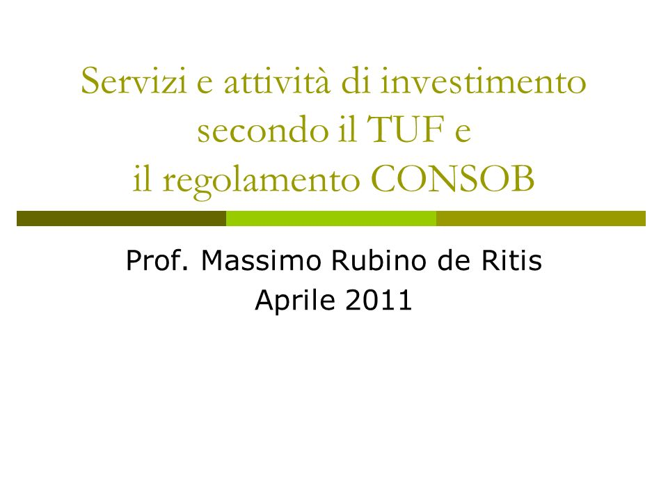 Prof. Massimo Rubino de Ritis Aprile 2011