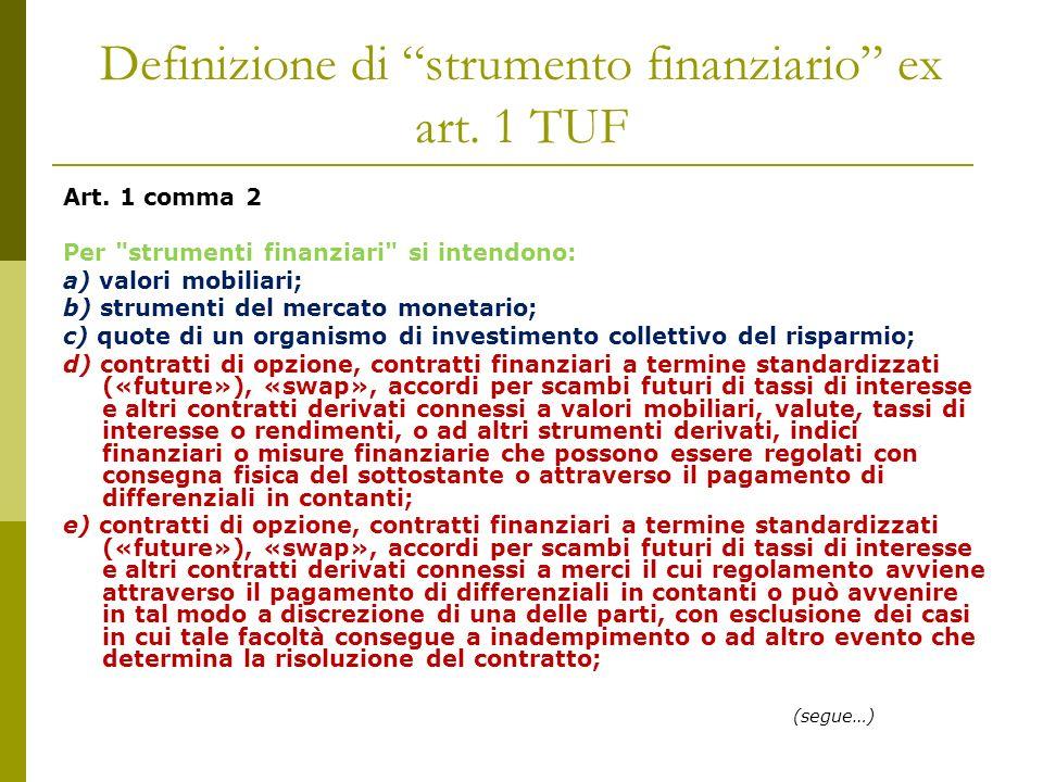 Definizione di strumento finanziario ex art. 1 TUF