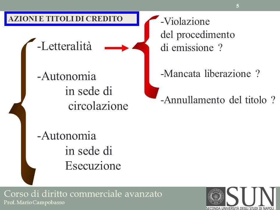 Letteralità Autonomia in sede di circolazione Esecuzione -Violazione