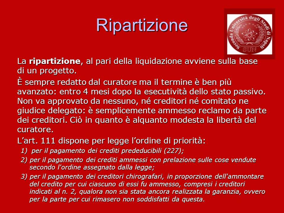 RipartizioneLa ripartizione, al pari della liquidazione avviene sulla base di un progetto.