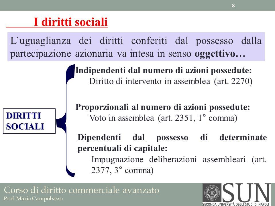 I diritti sociali L'uguaglianza dei diritti conferiti dal possesso dalla partecipazione azionaria va intesa in senso oggettivo…
