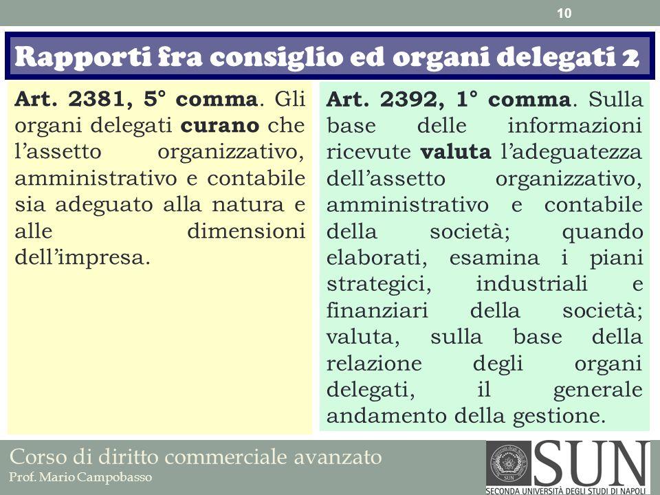 Rapporti fra consiglio ed organi delegati 2