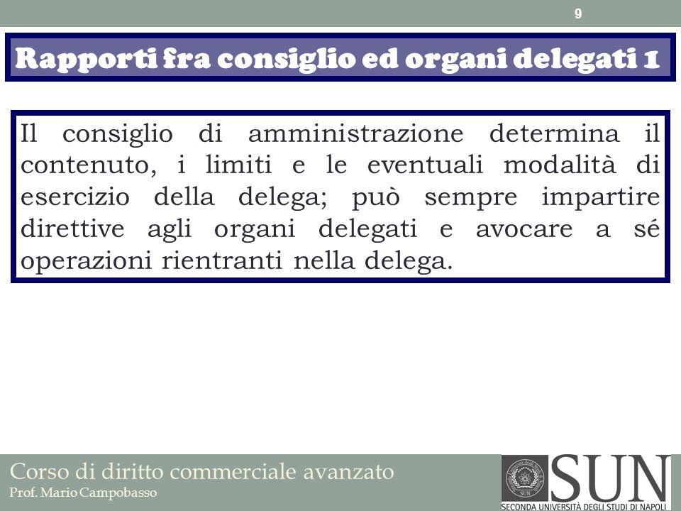 Rapporti fra consiglio ed organi delegati 1