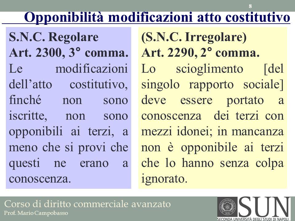 Opponibilità modificazioni atto costitutivo