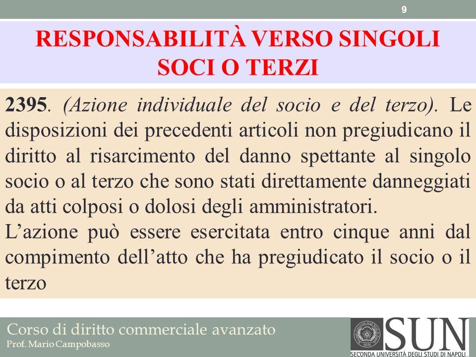 RESPONSABILITÀ VERSO SINGOLI SOCI O TERZI
