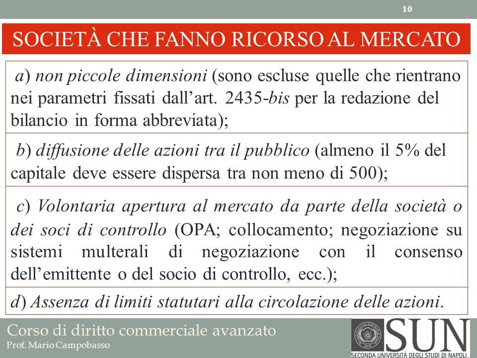 SOCIETÀ CHE FANNO RICORSO AL MERCATO