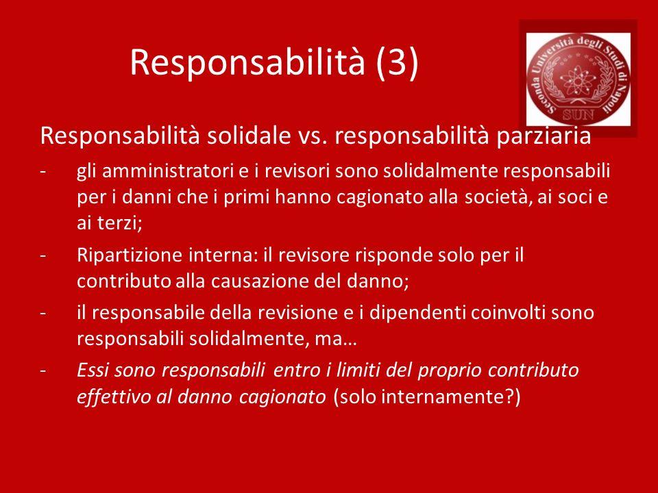 Responsabilità (3) Responsabilità solidale vs. responsabilità parziaria.