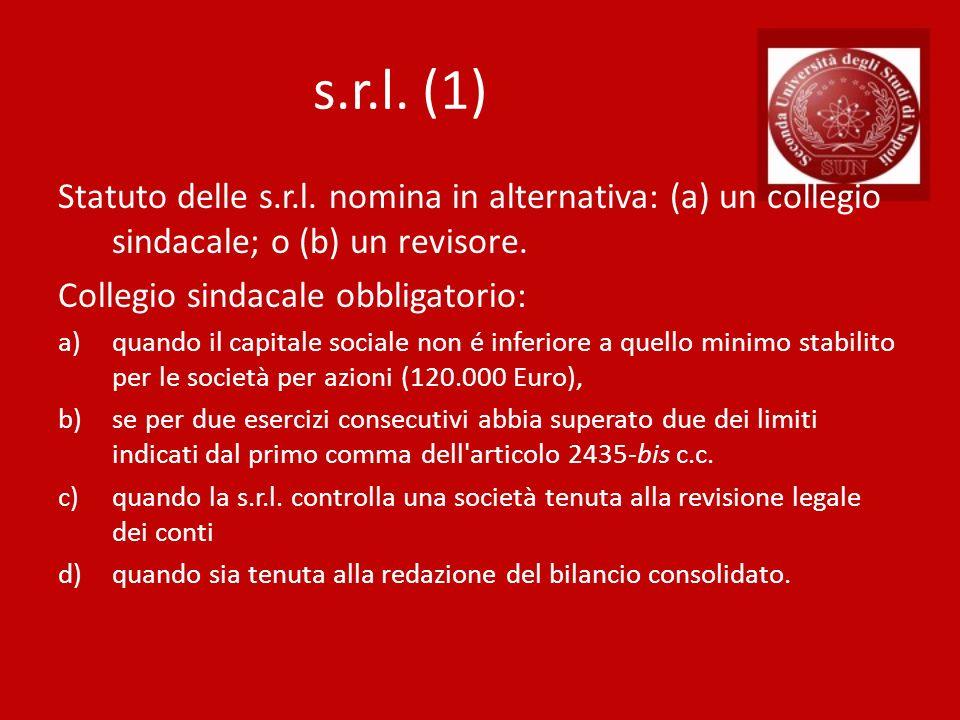 s.r.l. (1) Statuto delle s.r.l. nomina in alternativa: (a) un collegio sindacale; o (b) un revisore.