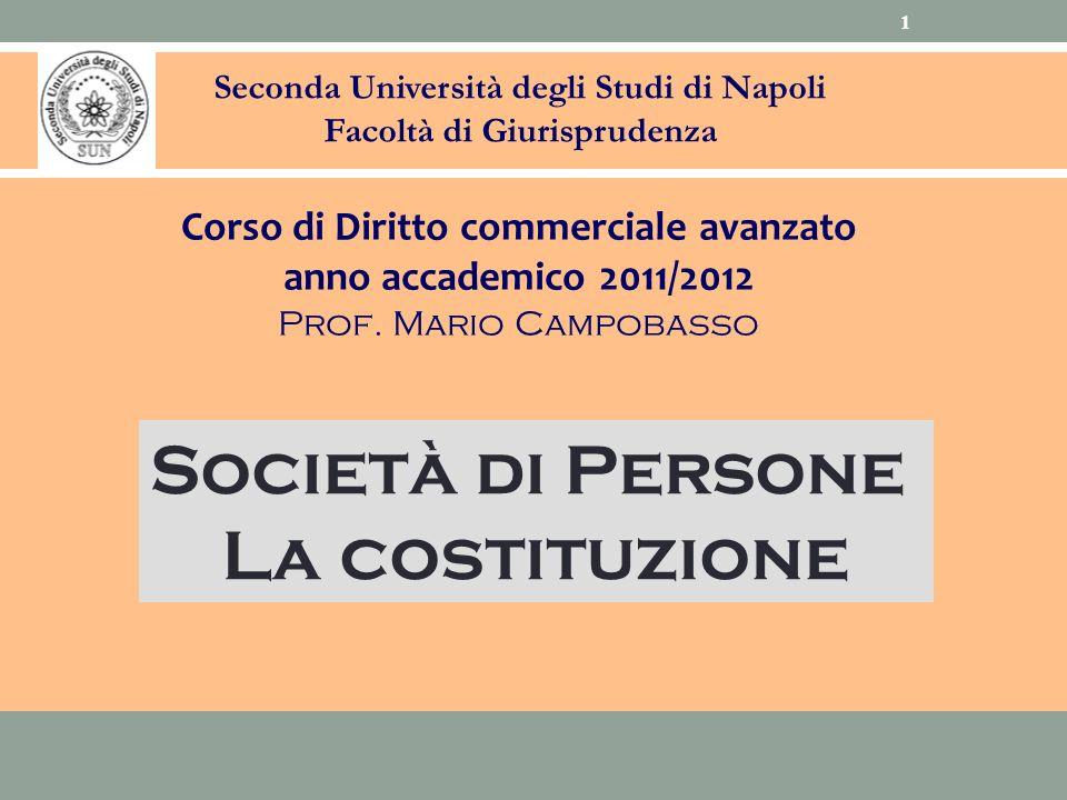 Società di Persone La costituzione