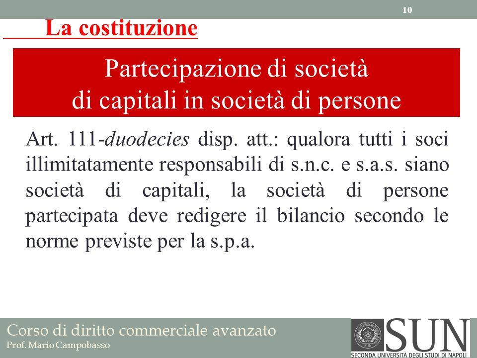 Partecipazione di società di capitali in società di persone