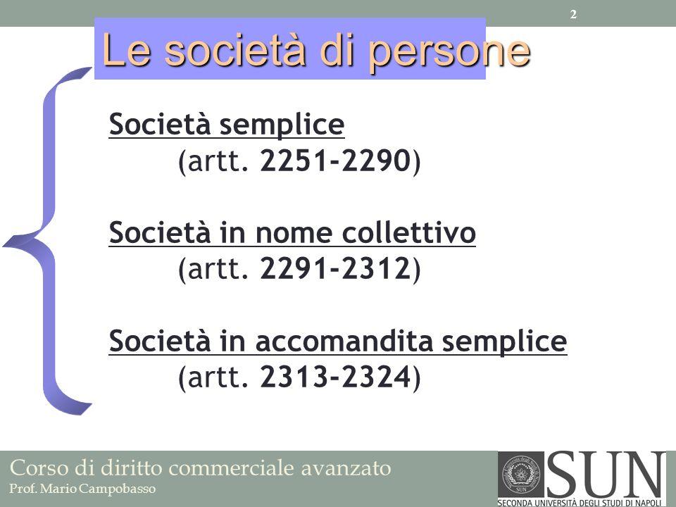 Le società di persone Società semplice (artt. 2251-2290)